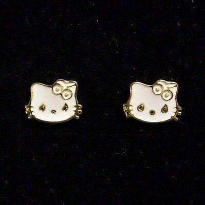 Weiße Emaille Kitty Katze Kätzchen Kinder Ohrstecker Gelb-vergoldet 10 x 8 mm