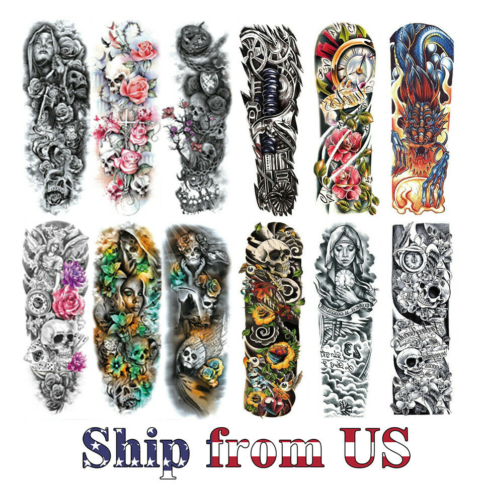 Temporary Tattoo Stickers Waterproof Full Arm Body Art Fake Colorful Tattoos US Health & Beauty