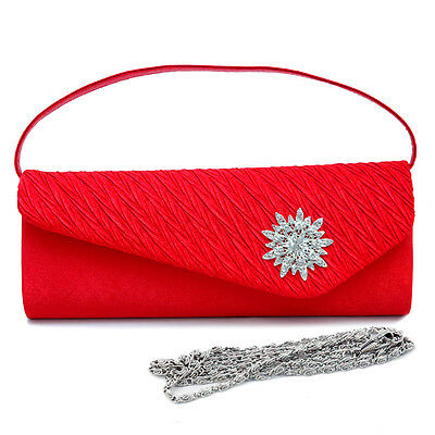 Red Satin Evening Bag (Womens Handbag Pleated Satin Evening Clutch Bags Purse Crossbody Bag)