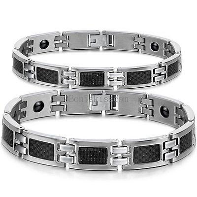 His and Hers Black Carbon Fiber Stainless Steel Couples Health Magnetic Bracelet (Carbon Fiber Mens Bracelets)