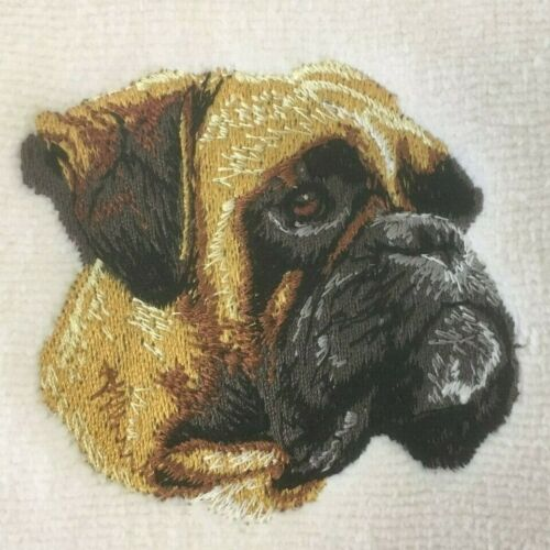 Boxer Head, Hand Towel, Embroidered, Custom, Personalized, Dog