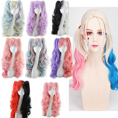 Curly Wavy Full Wigs (Fashion Lolita Full Curly Wigs Pigtails Wavy Hair Cosplay Costume Anime Party  )