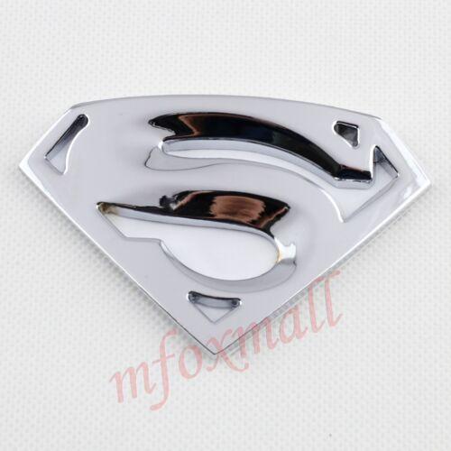 Chrome Accessories 3D Superman Emblem Badge Decal Sticker Silver Auto Car Trim