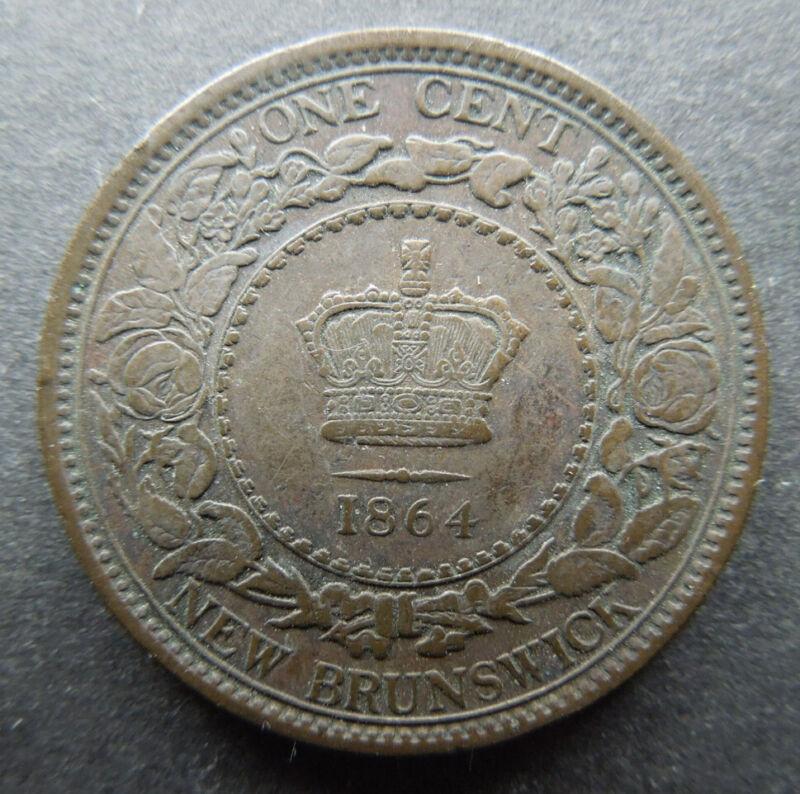 New Brunswick Canada 1864 One Cent Queen Victoria KM#6 Bronze Coin