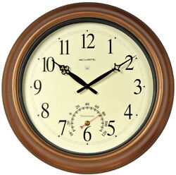 18-Inch Atomic Metal Copper Outdoor Indoor Clock W/ Thermometer House Glass Lens