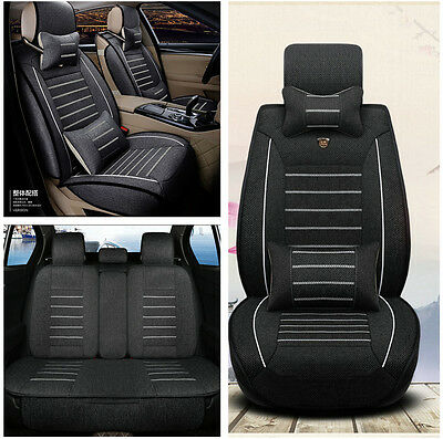 Black Car Seat Cover Cushion 5-Seats Front Rear w/Pillows Interior Accessories