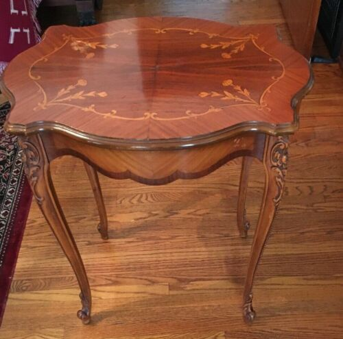 Antique Beautiful French End or Side Table Inlaid Wood Carved