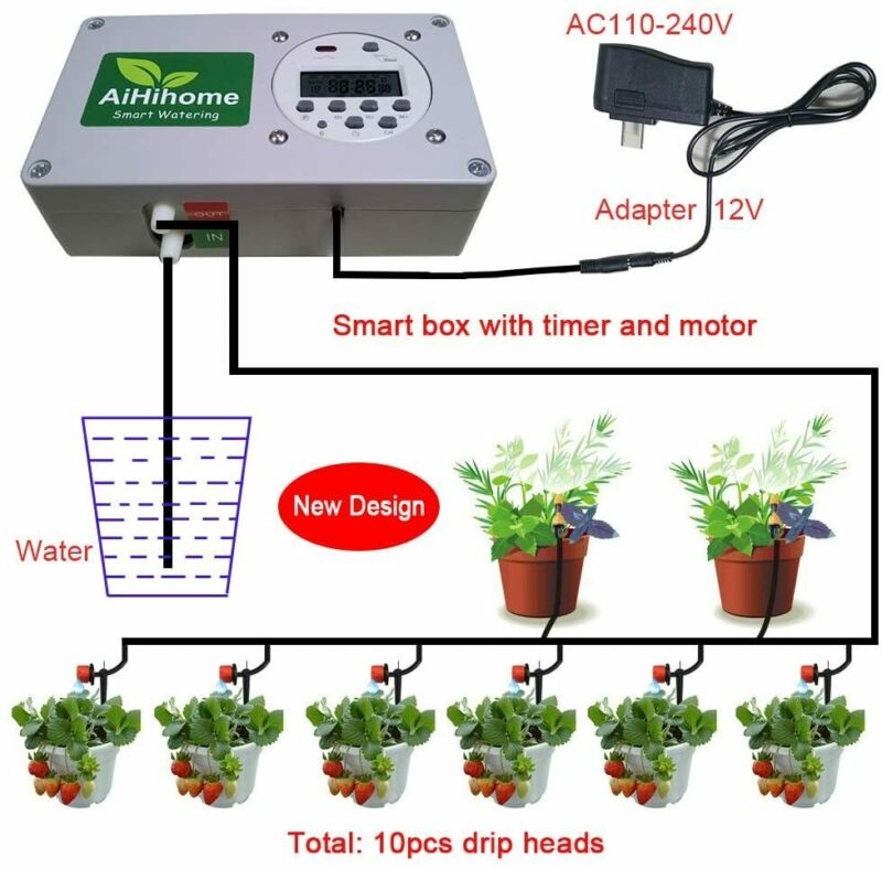 Automatic Watering System Indoor Plant Auto Watering w/ Digital Timer Controller
