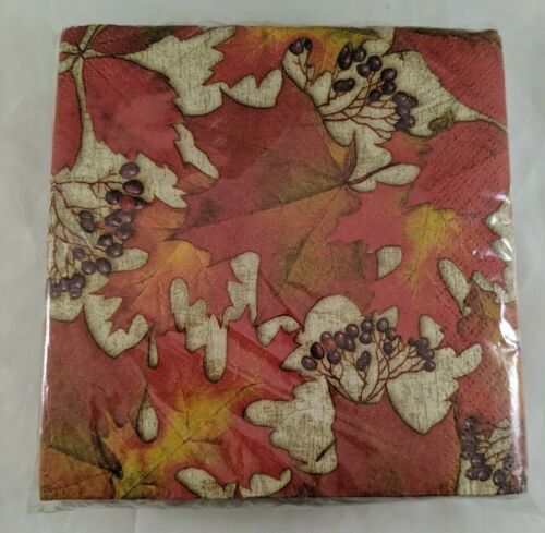 Paper Napkins Cocktail Luncheon Special Occasion Abundant Leaves 36 qty New