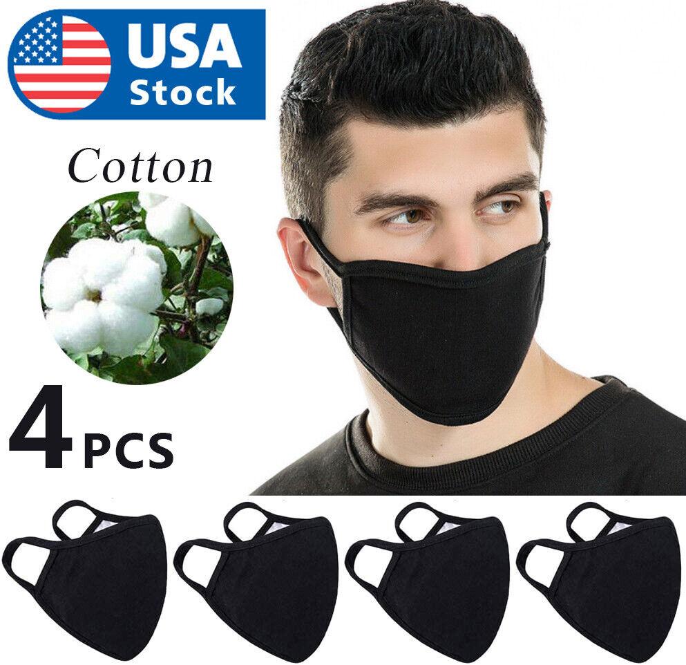 USA 4Pcs x Double Layer Black Cotton Washable Face Mask / Reusable Accessories