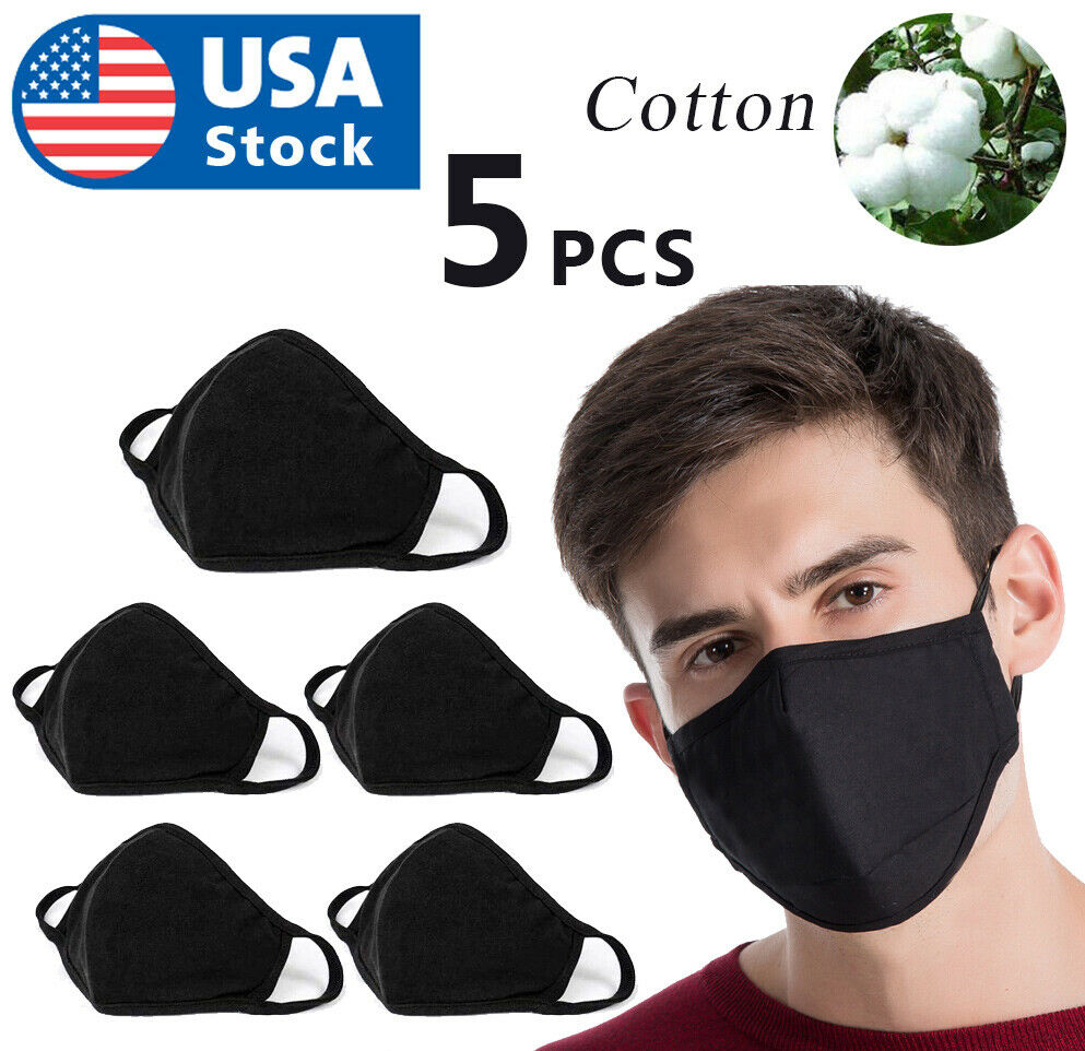 USA 5pack Double Layer Black Cotton Washable Face Mask / Reusable Accessories