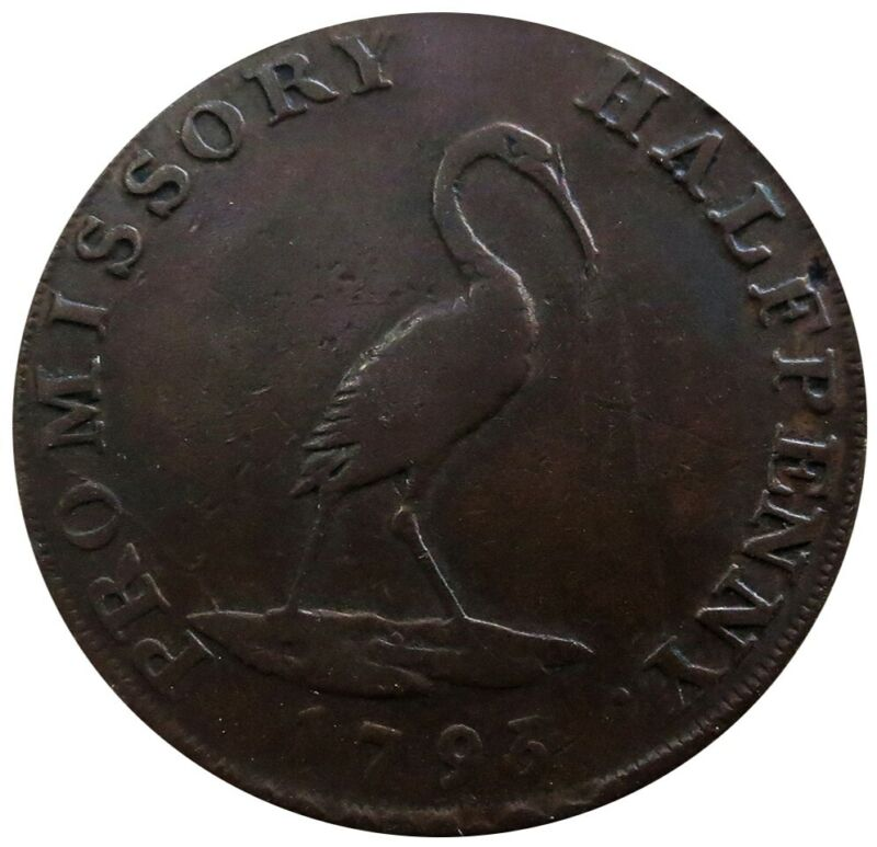 1793 GREAT BRITAIN 1/2 PENNY HAMPSHIRE PETERSFIELD STORK PROMISSORY TOKEN DH-48