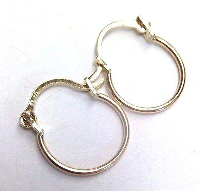 """1/2""""  Solid 14K Yellow Gold Hoop Snap Closure Pierced Earrings"""