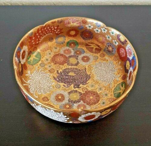 """Antique JAPANESE 5"""" SATSUMA LOBED BOWL Koshida under Shimazu THOUSAND FLOWER  L"""