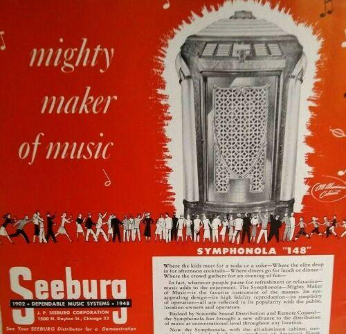 Seeburg Symphonola Trashcan Model 148 Jukebox Phonograph Music 1948 Magazine AD