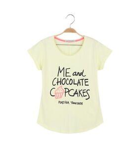 GLO-STORY-Coleccion-T-Camiseta-Corto-Talla-S-NUEVO-Capcakes-Amarillo