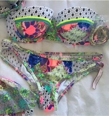 3 Piece Victoria Secret Bandeau top 34DD Mesh Patchwork bikini Large Coverup Med 3 Piece Mesh Bikini