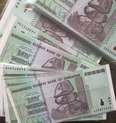 10 x Zimbabwe 50  Trillion Dollars, Uncirculated ,100 Trillion Series AA/2008