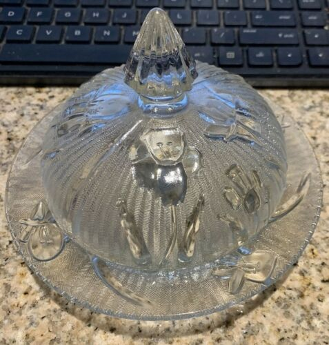 Jeanette Depression Glass Clear Butter Dish & Lid Iris & Herringbone EVC