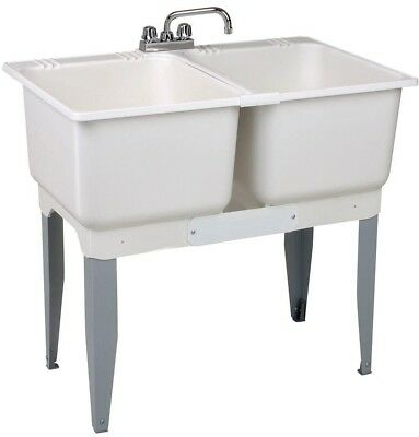 Freestanding Plastic Laundry Tub Double Basin Utility Sink H