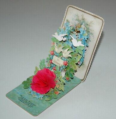 wundervolle Kulissenkarte Klappkarte -Innigen Glückwunsch Aus Zunegigung um 1900