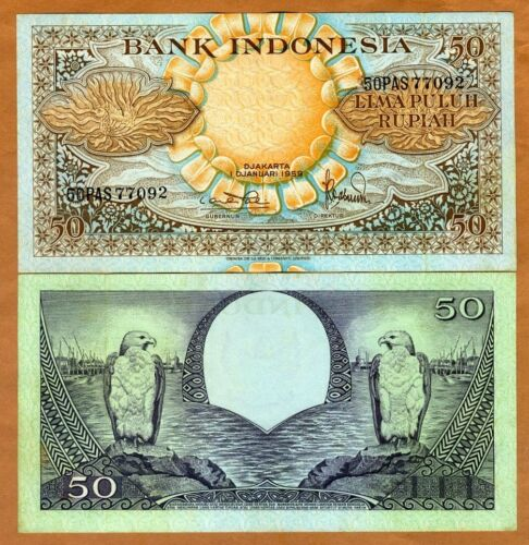 Indonesia, 50 Rupiah, 1959, P-68, Ch. UNC > Birds, Flowers > 60 years old