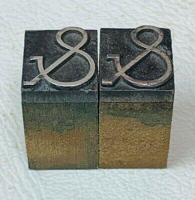 Set Of 2 Ampersand Symbol Letterpress Wood Print Block