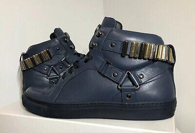 €936 New Versace BLUE/GUNMETAL leather Men shoes Size 11. 44