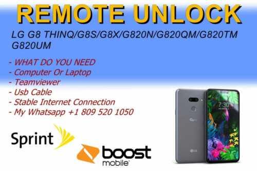 Remote Unlock LG G8 Thinq/G8S/G8X/G820N/G820QM/G820TM/G820UM
