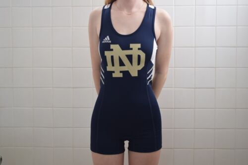 adidas Notre Dame University track and field running singlet womens unisuit Med