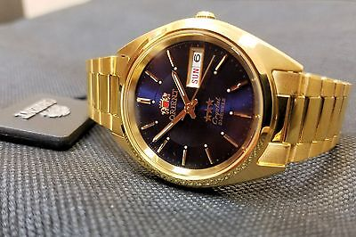 Orient Classic Dress Watch Automatic Gold Sunray Deep Blue Dial FREE US SHIP