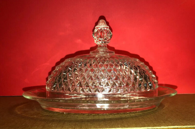 #A100 ~ GORGEOUS CUT GLASS COVERED BUTTER OR CHEESE DISH VINTAGE FOOTED