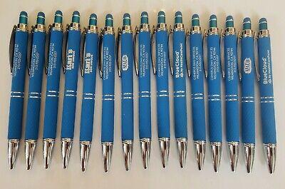 15 Blue Misprint Pen Stylus Lot Metal Soft Touch Alpha Click Black Ink