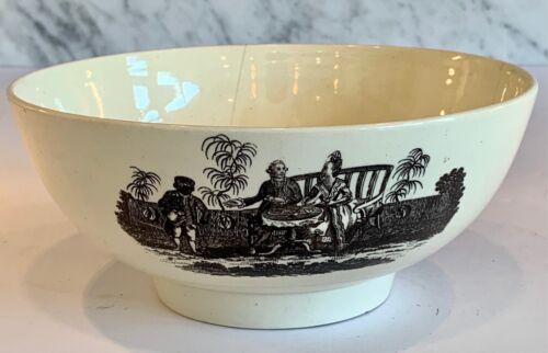 Early English Georgian Creamware Transfer Tea Party Shepherd Bowl Large c. 1780