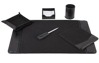 Majestic Goods 6 Piece Crocodile Black Leather Desk Set