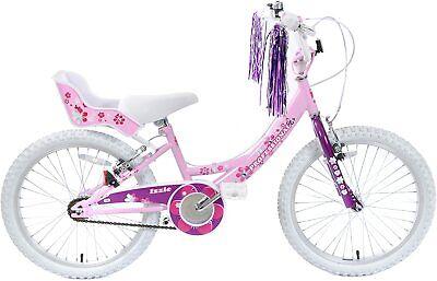 "Kids Girls Bike Izzie 20"" Wheel Pretty Pink Bicycle & Dolly Seat Streamers Age 7"