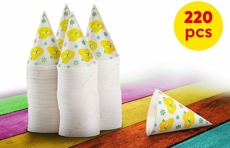 220 Snow Cone Cups | 6oz Size | Disposable Paper | Leak Proof Wax Coating