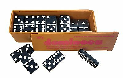 New Double Six Dominoes with Spinners in the Box with Slide Lid Black Dominos