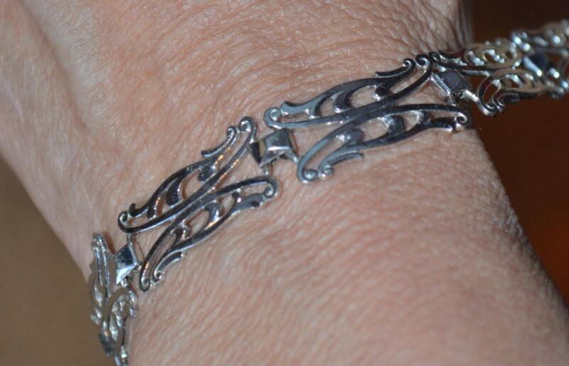 """Vintage 925 Sterling Silver marked K&B 7"""" bracelet unique 12 grams"""