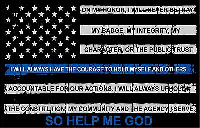 """Thin blue line decal - Tattered Flag with Credo Window Decal - 5"""" x 3"""" Size"""