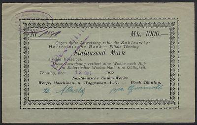 [21810] - NOTGELD TÖNNING, Norddeutsche Union-Werke, Werft, Maschinen- u. Waggon