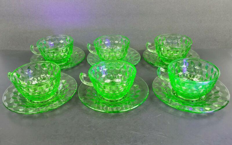 Set of 6 Jeannette Glass Co CUBE CUBIST Green Uranium Depression Cups & Saucers