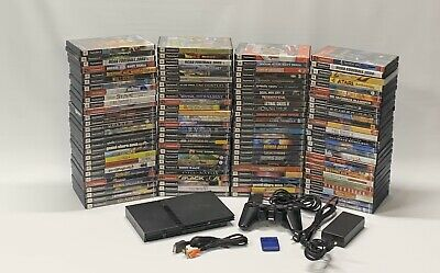 Sony Playstation 2 Black Slim PS2 Console Lot Games + Controller ~Tested ~READ~