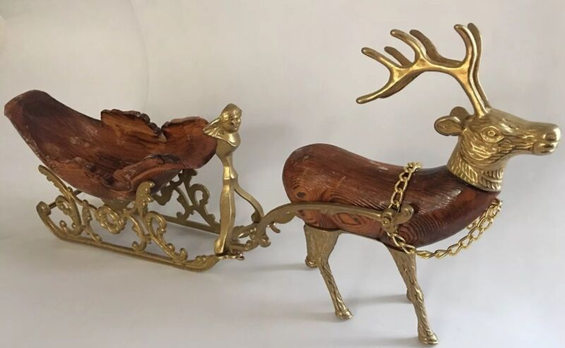 Vintage Heavy Brass And Carved Wood Santa Sleigh And Reindeer Christmas