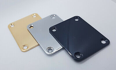 Neck Plates for Electric Guitar. In Gold, Chrome or Black.