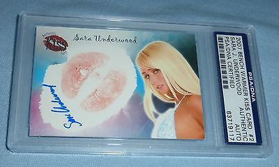 Sara Jean Underwood Signed w Lip Print Kiss 2007 Benchwarmer Card #2 PSA/DNA COA