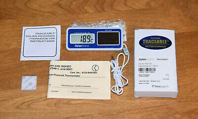 Fisherbrand Traceable Solar-powered Digital Thermometer Calibrated 15-077-20 New