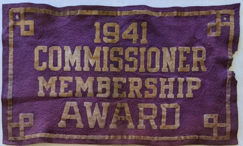 1941 Commissioner Membership Felt Award Vintage Boy Scouts of America BSA
