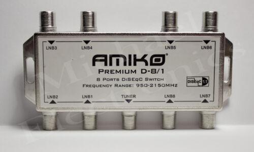 Amiko Premium 8X1 DiSeQc Switch, FTA Satellite Dish Multi-Switch LNB LNBF