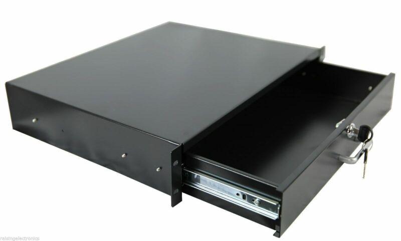 "2U Rack Mount DJ 19"" Rack Case Equipment Deep Drawer 2 Space Locking Lockable"